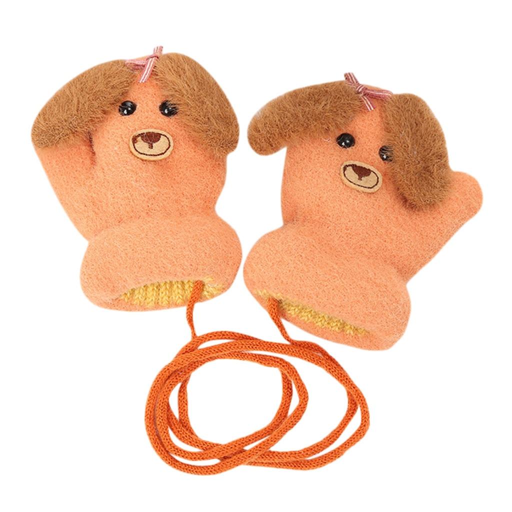 Детские теплые трикотажные зимние перчатки с милыми мультяшными животными для мальчиков и девочек, милые Мультяшные перчатки для детей, теплые зимние перчатки - Цвет: E