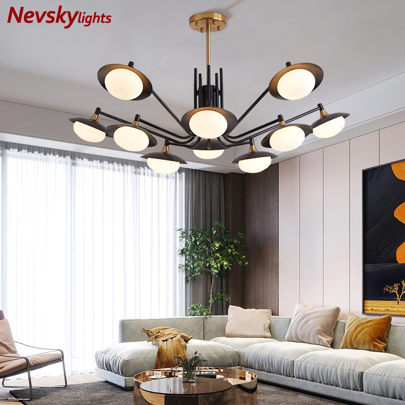 moderne or lustre salon blanc verre led suspension lampe chambre moderne cuisine luminaire eclairage salle a manger luminaire