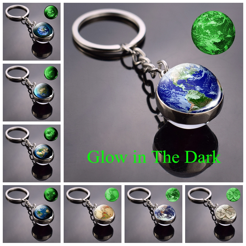 Vintage World Map Keychain Globe Earth Pendant Key Chain Luminous Keychain Keyring Keyfob Glow In The Dark Christmas Gifts