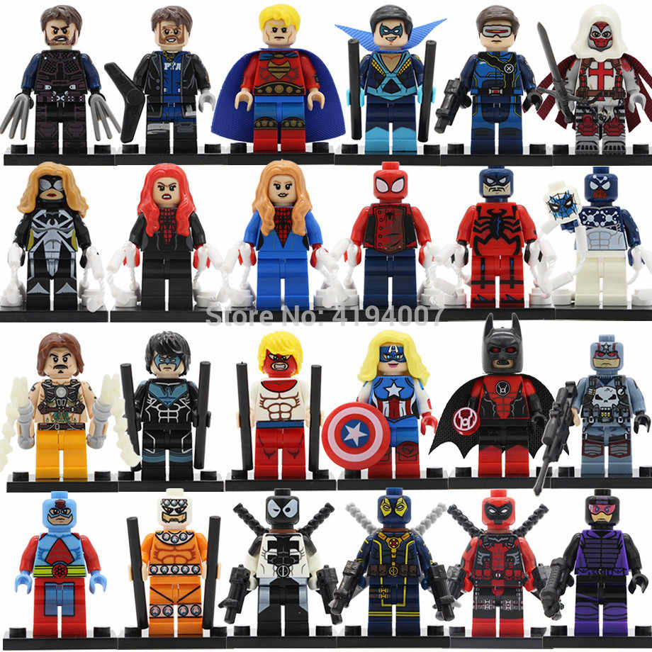 Super HERO FIGURE Atom QUASAR Azrael CYCLOPS Spider Woman Batman Venompool American Dream Building Blocks ชุดของเล่น Legoing