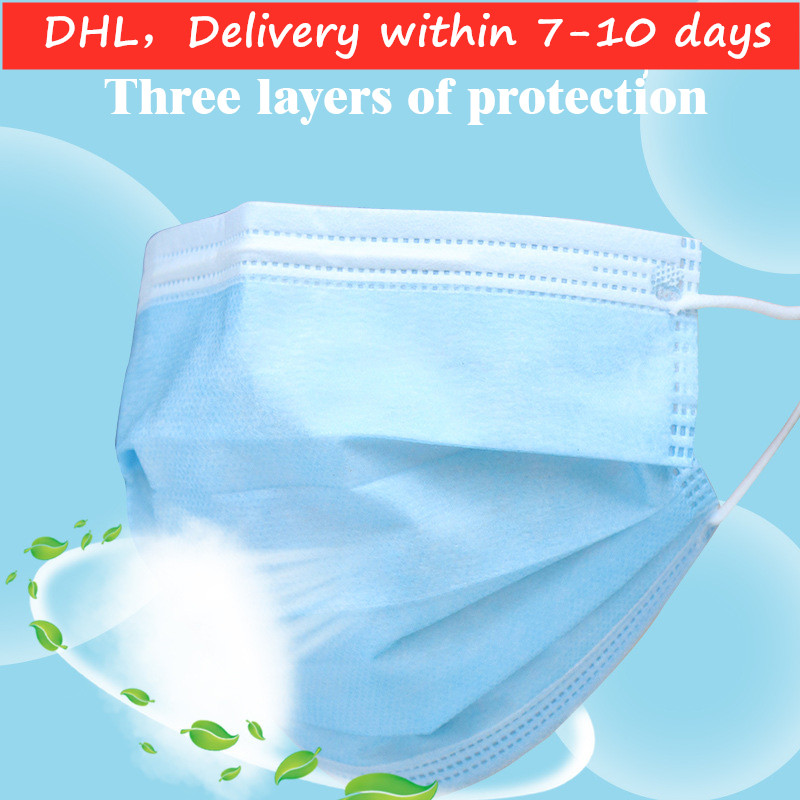 Mask 2020 Disposable Dust Mask Ordinary Masks Breathable Windproof Fashion Cotton Three Layers Dust-proof Blue Hanging Ear