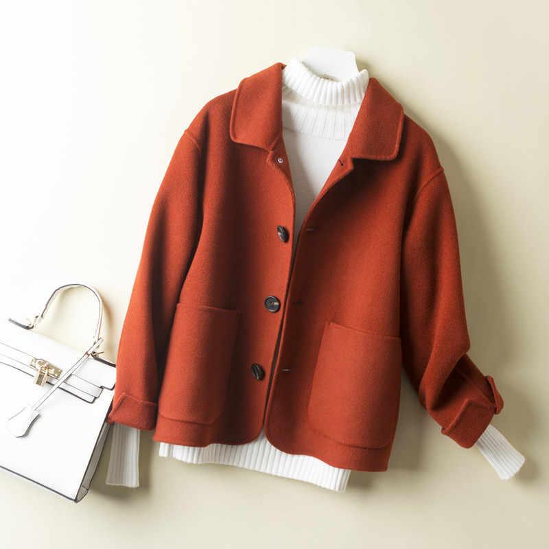 2020 Abrigo de lana de 100% para Mujer Chaqueta corta de doble cara negro amarillo Abrigo coreano Abrigo Mujer 1840 dj2392
