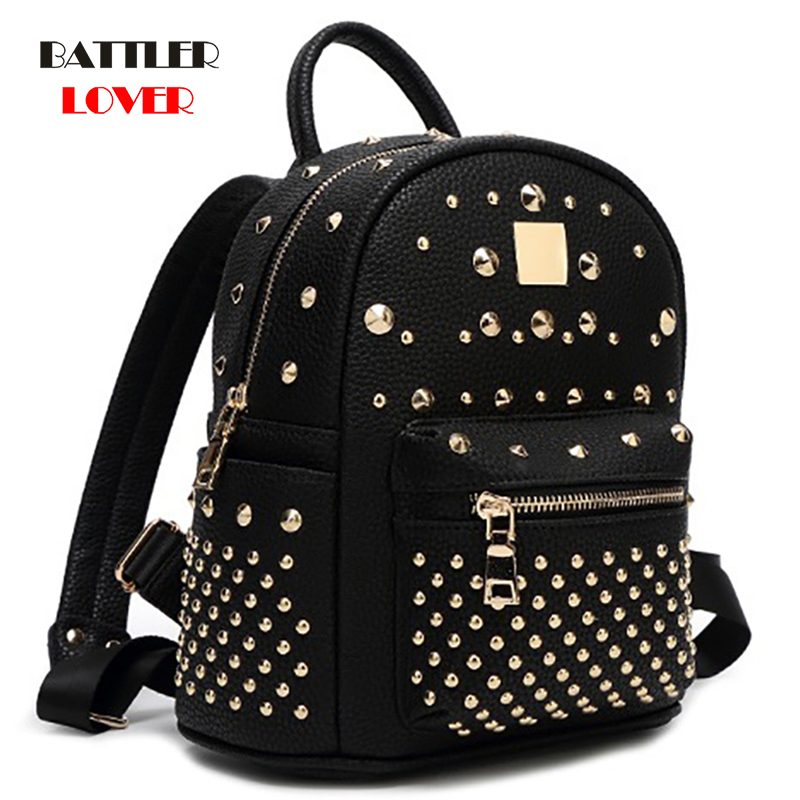 New Arrival 2019 Fashion Womens PU leather Backpack Preppy Steampunk Rivet School Bags Ladies Small Backpacks Traveling Backpack