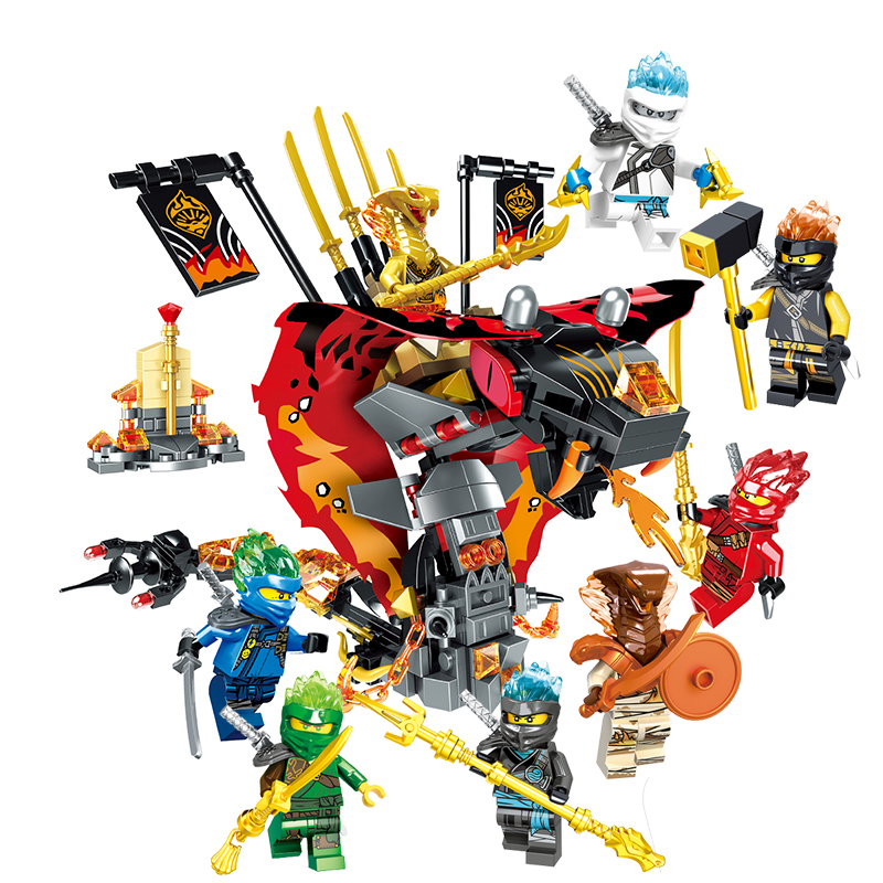 2019 New Ninja Temple Dragon Lion Jay Mech DIY Building Block Educational Compatible Legoinglys Ninjagoed Toys For Child Gifts