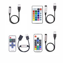 лучшая цена 5V 12V 24V USB Led Strip Lights RGB USB RF Remote Controller 5 12 24 V Volt USB LED Strip light 3 11 17 24 Key  Remote Wireless