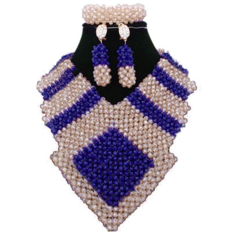 Dudo Store de luxe nigérian mariage perles africaines ensemble de bijoux femmes or et bleu Royal collier ensemble livraison gratuite nouveaux Designs