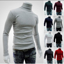 2019  Mens Sweater Men Solid Casual Turtleneck Slim Fit Knitted Pullovers Clothes Autumn Winter