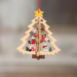 Image 2 - 1 pc nova árvore de natal ornamentos pendurado árvore de natal decoração de festa em casa 3d pingentes alta qualidade pingente de madeira decoração cor