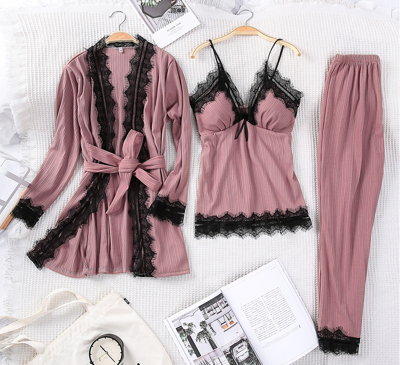 Queenral 3PCS Pyjama Femme Long Sleeve Pijama  For Women Sleepwear Set Home Clothes Pajamas Sets Sexy Lace Robe Pajamas         10