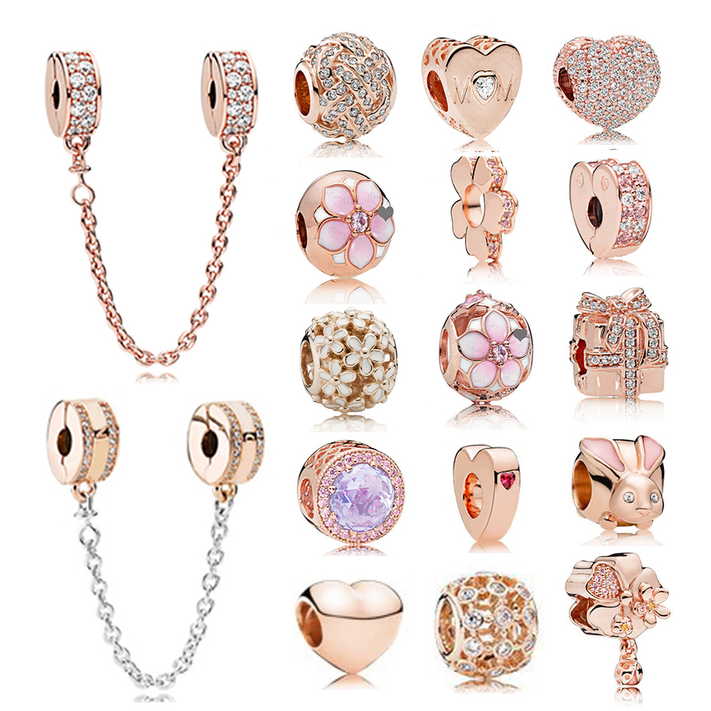 NEW 100% 925 Sterling Silver 1:1 Authentic Charm Rose Gold Daisies Heart-Shaped Rabbit Beaded Safety Clip Safety Chain