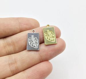 Eruifa 20pcs10*15 мм Новое поступление, прямоугольное ожерелье из тропического листового цинкового сплава, серьги, браслет, ювелирные изделия ручн...