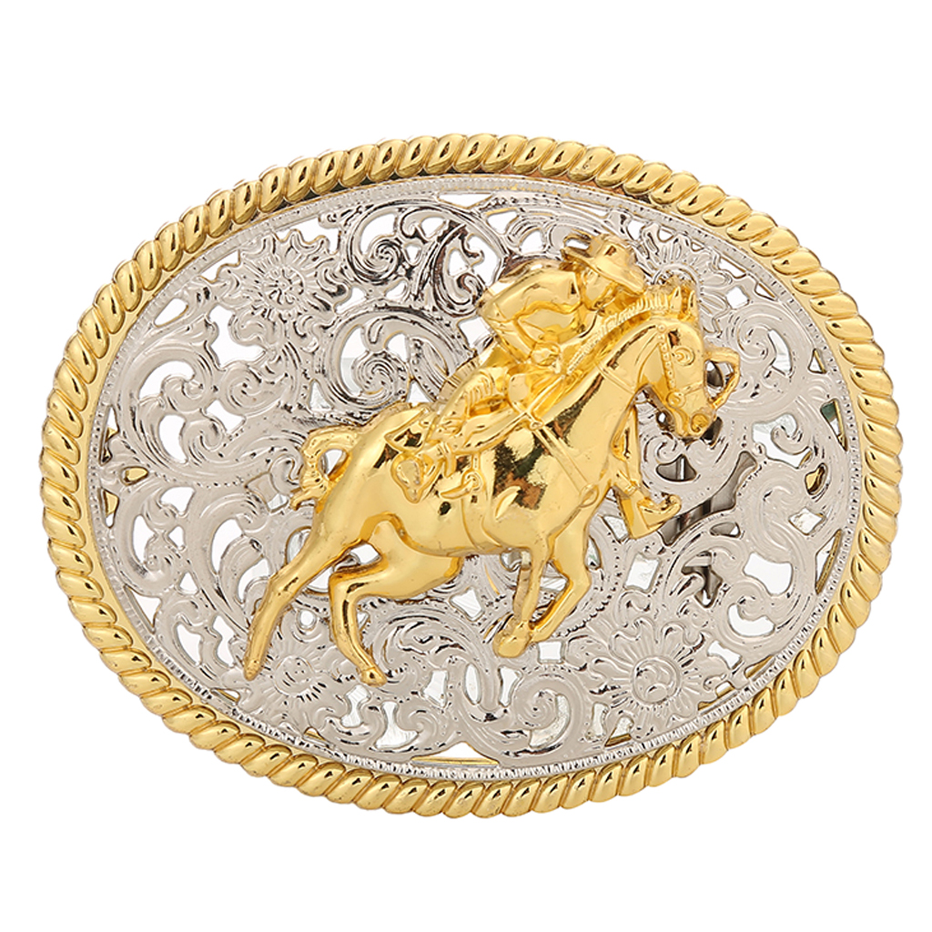 Classic Western Belt Buckle Golden Engraved OX Head Antique Oval Buckle