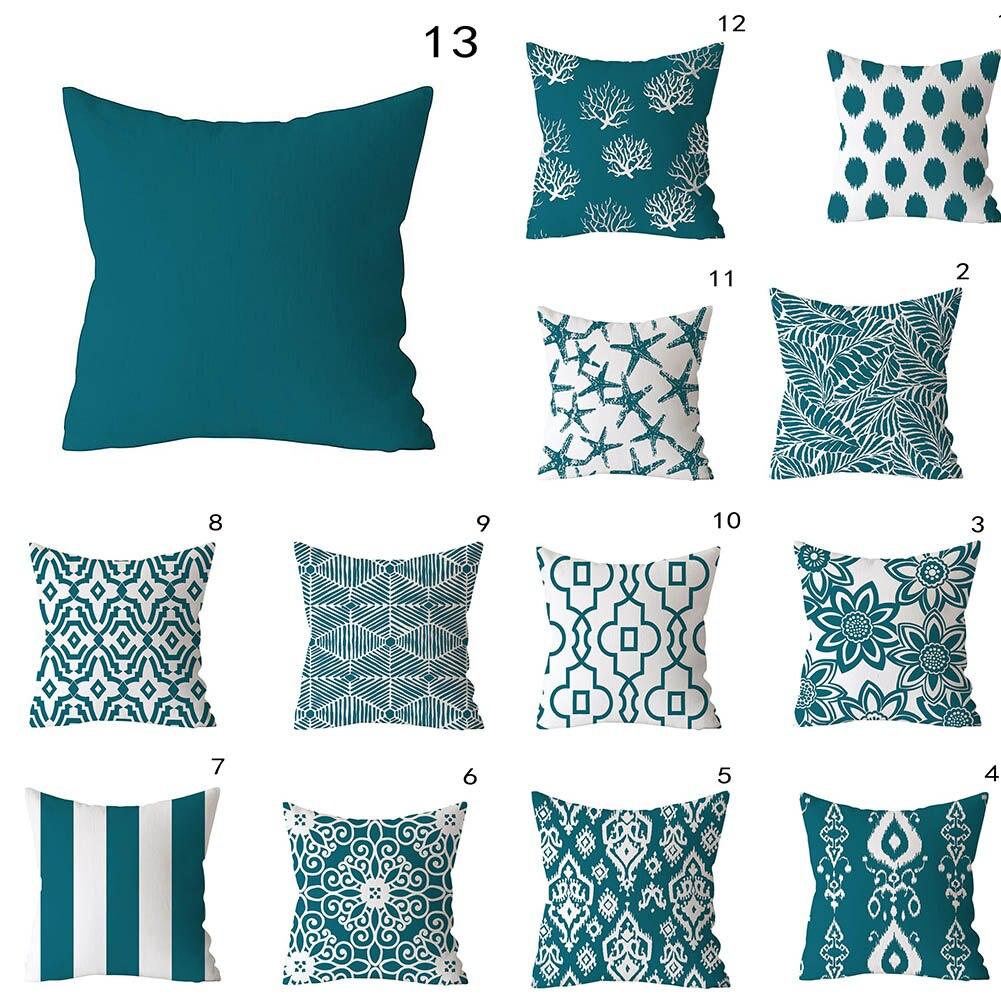 European Blue Green Pillowcase Striped Floral Printing Sofa Cushion Cover Case For Home Decoration Polyester 45*45cm Home Decor
