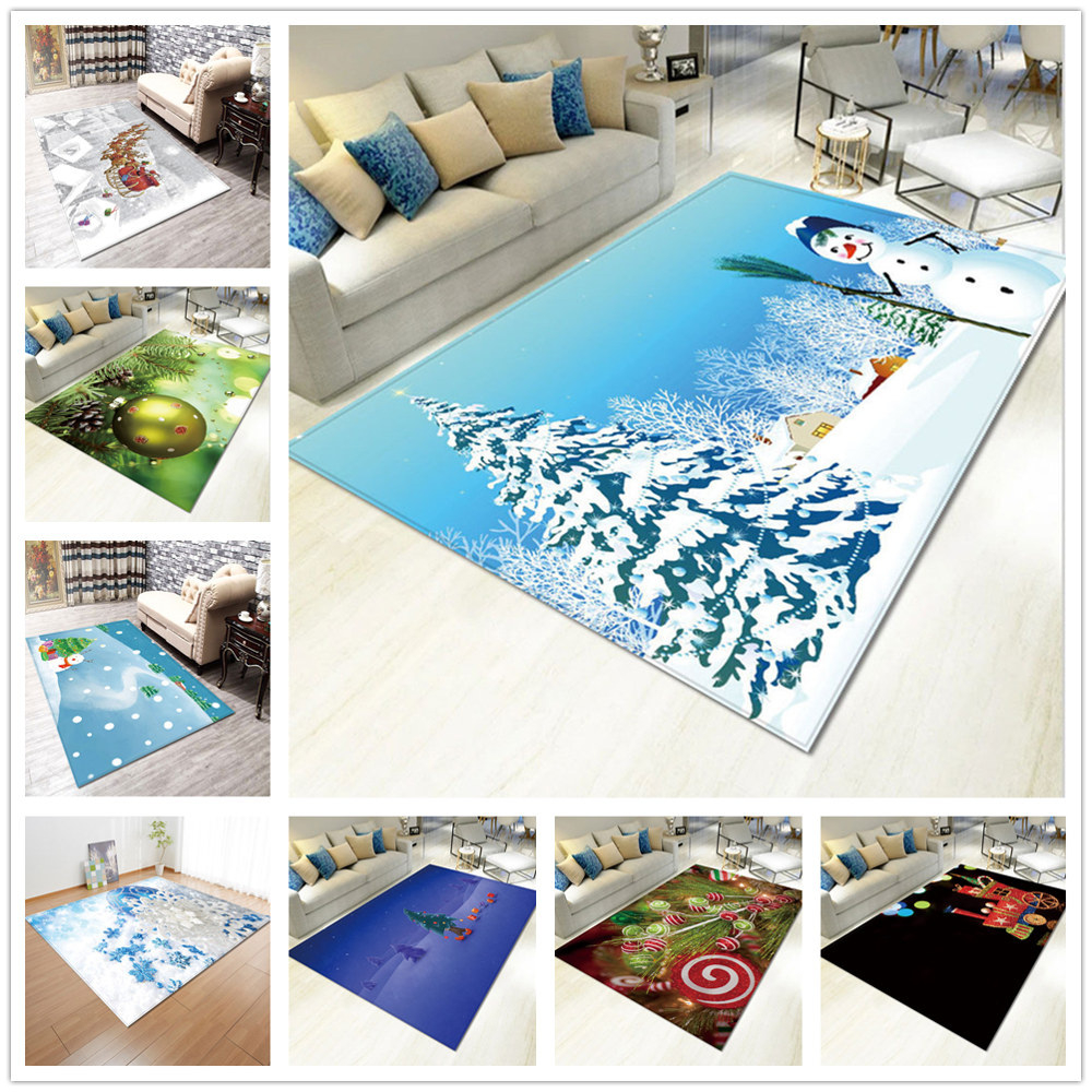Fashion 3D Christmas Party Area Rugs Xmas Garland Tree Snowman Elk Printing Carpets For Living Room Bedroom New Year Decoration