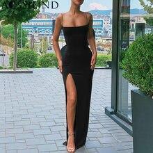 Aossilind Черное длинное платье на бретельках с разрезом женское
