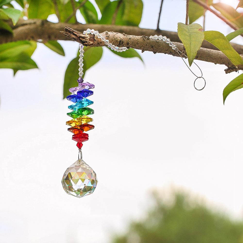 Garden Decoration Colored Crystal Ball Pendant Colored Octagonal Bead DIY Crystal Flower Charm Garden Supplies