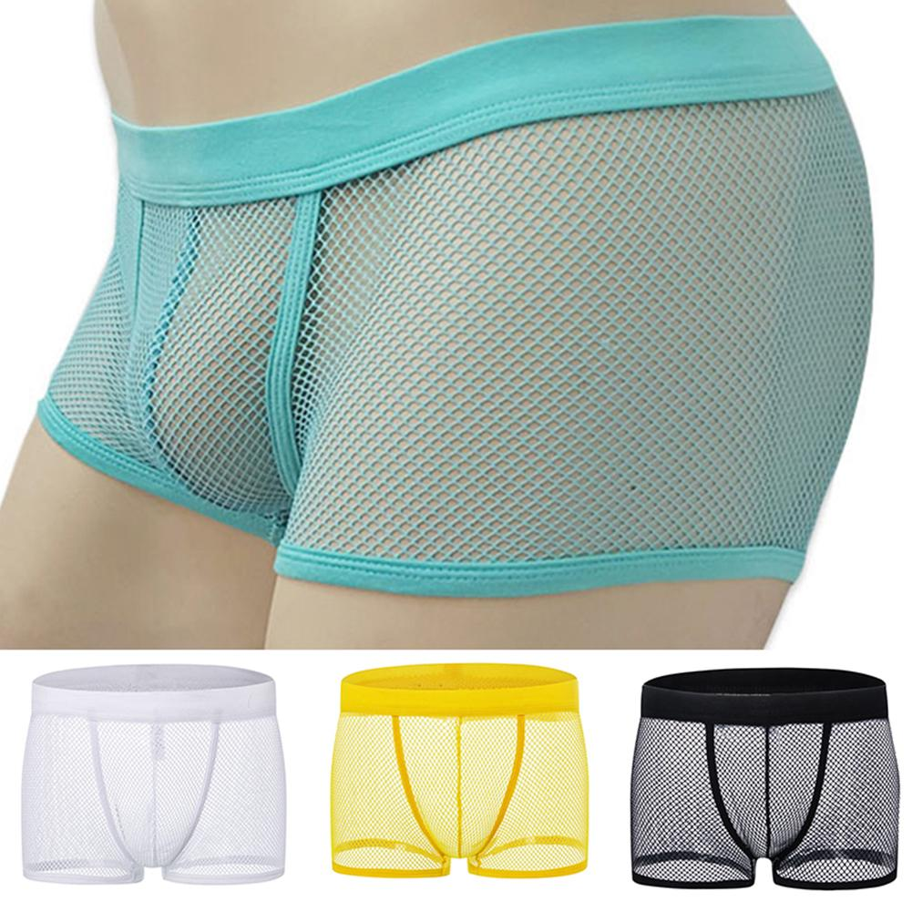 Breathable Ice Silk Solid Men Cool Underpant U Convex Design Underwear Mesh Sexy Trunks Low Waist Sport Hot