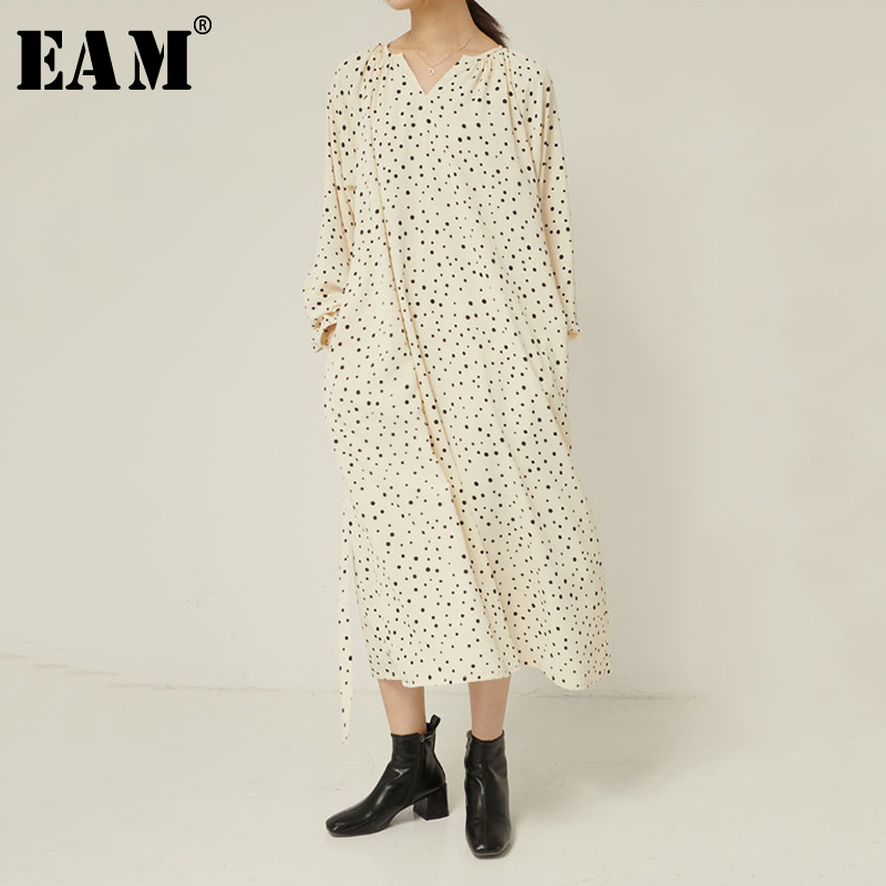 [EAM] Women Dot Printed Drawstring Split Big Size Dress New V-Neck Long Sleeve Loose Fit Fashion Tide Spring Autumn 2020 1R331