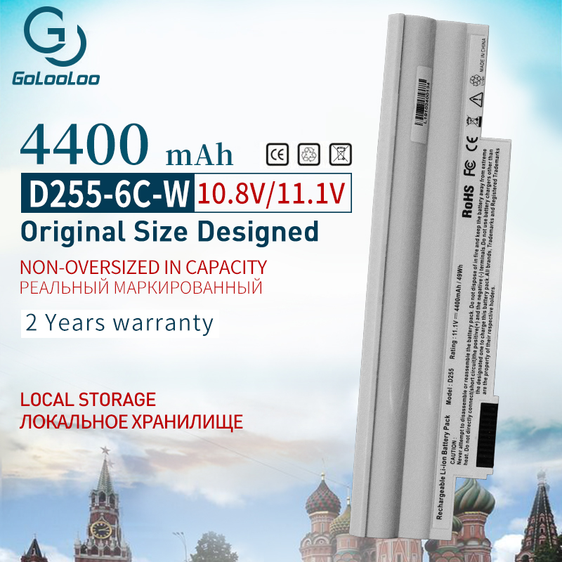Golooloo White Laptop <font><b>Battery</b></font> For <font><b>Acer</b></font> <font><b>Aspire</b></font> <font><b>one</b></font> D255 D257 D260 D270 522 <font><b>722</b></font> AL10A31 AL10B31 AO522 AOD255 AOD257 AOD260 AC700 image