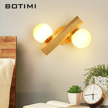 BOTIMI Wooden LED Wall Lamp With Ball Shaped Glass Lampshade For Bedroom Reading Hotel Bedside Decor Wooden Wall Sconce(China)