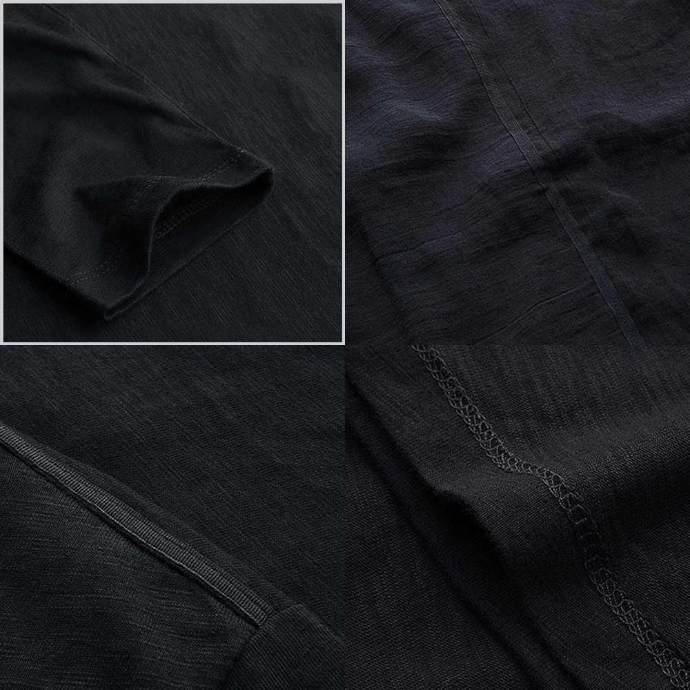 KUEGOU 2020 가을 패치 워크 코튼 린넨 플레인 블랙 티셔츠 남성 티셔츠 브랜드 티셔츠 긴 소매 티셔츠 플러스 사이즈 탑스 735