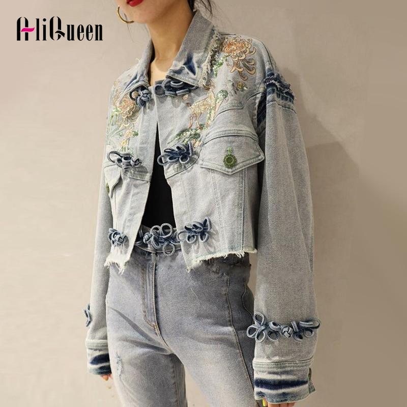 Autumn Blue Floral Enbroidery Tassel Cropped Denim Jackets Ethnic Vintage Long Sleeve Jeans Jacket Women Casual Loose Short Coat
