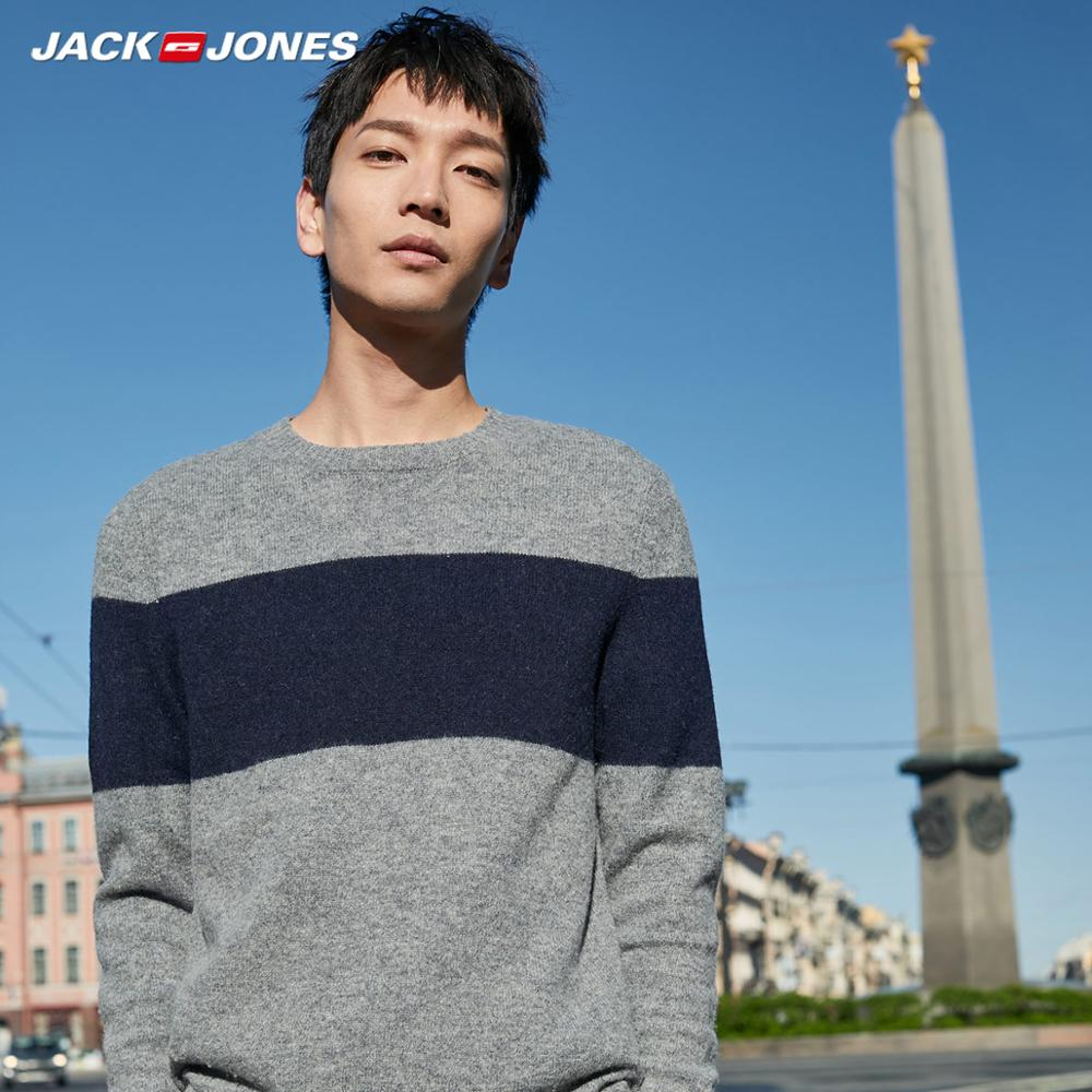 JackJones Men's Striped Woolen Knit Sweater Basic Menswear| 219324539