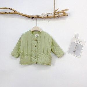 Image 5 - 2019 가을과 겨울 새로운 도착 한국 스타일 면화 멋진 아기 소녀와 소년을위한 큰 주머니와 느슨한 패션 코트를 두껍게