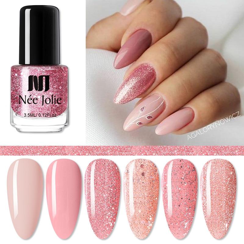 NEE JOLIE Nail Polish Nude Rose Gold Glitter Sequins Colorful Polish Healthy Easy Remove Nail Art Polish Nail Art Decoration