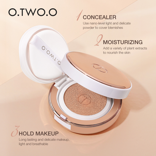 O.TWO.O Air Cushion BB Cream CC Cream Moisturizing Concealer Bright Makeup Base Long Lasting Foundation Cream With Makeup Puff 5