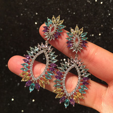 Bilincolor high-end colorful zircon flower silver needle earrings for women weeding party and gift