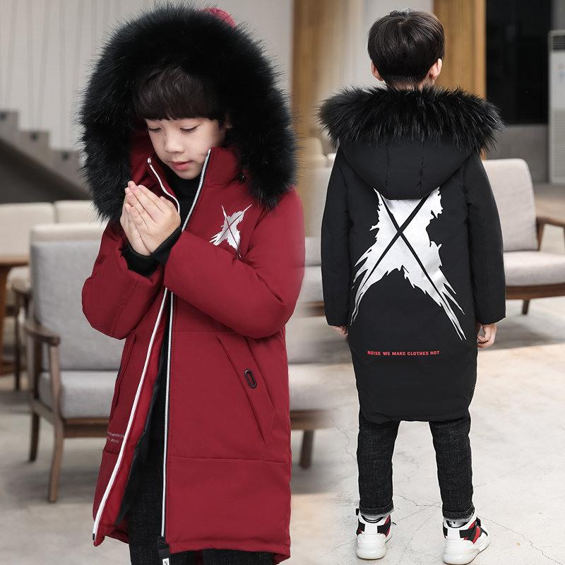 Teenager Warm Coat for Boy Long Parka with Fur Kids Winter Clothes Teenage Winter Jackets Outerwear Kids Boys Fur Parka For Age 5 6 7 8 9 10 11 12 13 14 Years Old