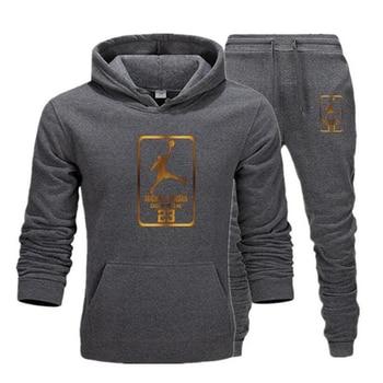 цена на 2020 New Hoodie Men Jordan 23 Golden Print Jordan Clothes Jogging Tracksuit Men Hoodies Casual Sweatwear Pullover Number 23 XXL