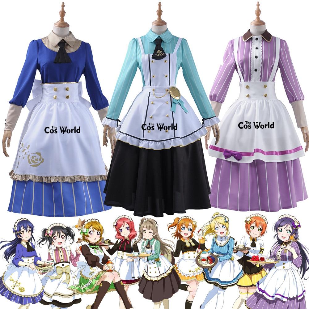 Love Live 9 Characters Tea Party Kousaka Honoka Minami Kotori Sonoda Umi Ayase Eli Maid Apron Dress Uniform Cosplay Costumes