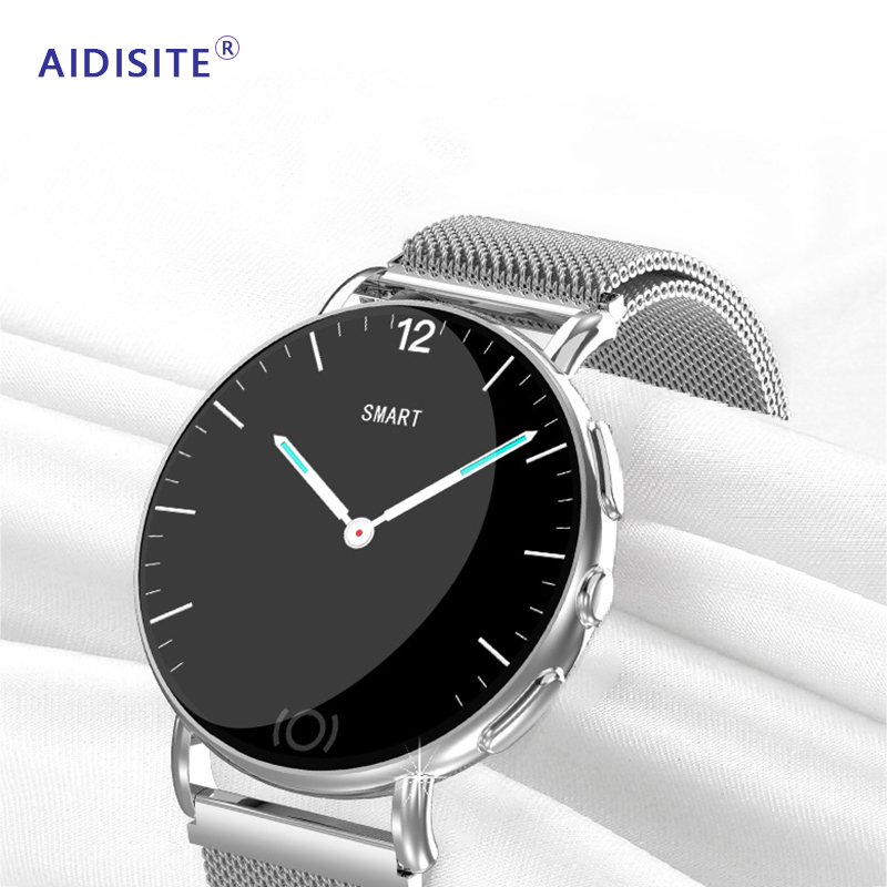 AIDISITE Metal Do Esporte Relógio da Frequência Cardíaca de Toque Inteligente Sono Monitor de Pressão Arterial Lembrete de Telefone GPS Smartwatch Para Android IOS