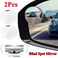 New Upgrade 2PCS Round Blind Spot Mirror HD Glass Frameless Convex Rear View Mirror 360° New carro Wholesale Quick delivery CSV|Convex Mirror| |  -
