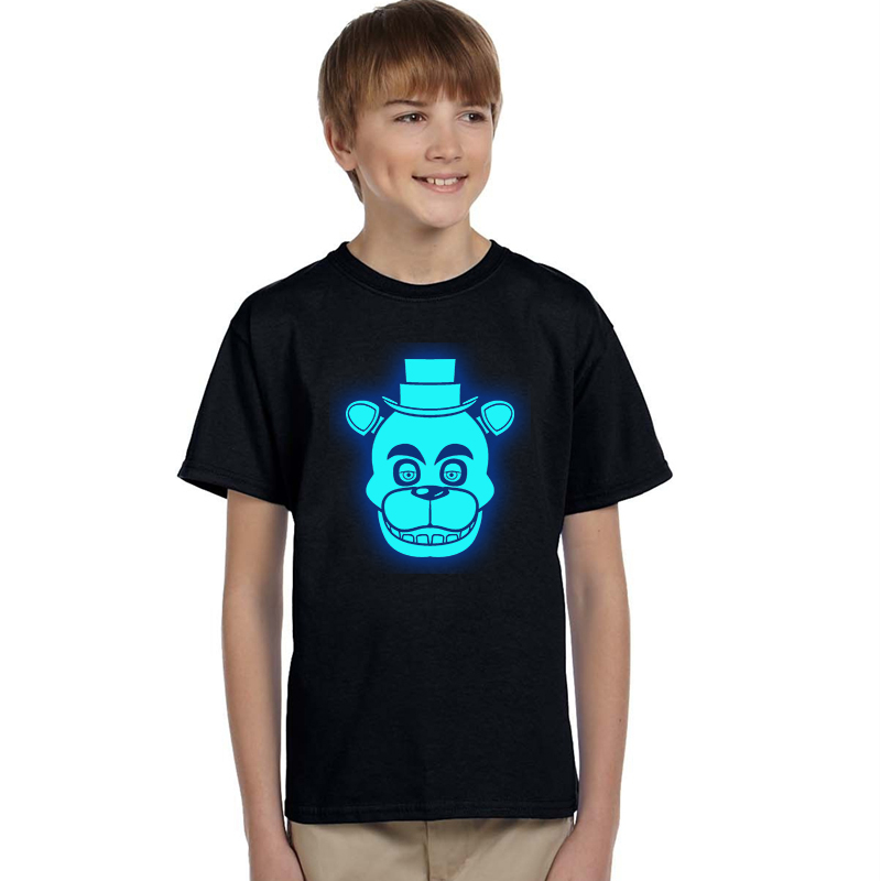 KIDS TEENAGE BOYS FIVE NIGHTS AT FREDDY/'S FNAF 4 HORROR CHICA T-SHIRT BLUE