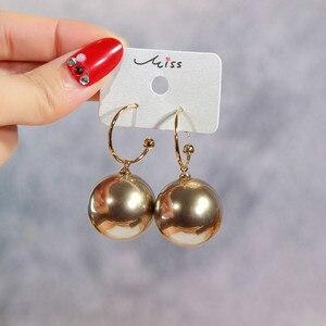 Модные элегантные блестящие круглые серьги-кольца с белым жемчугом, серьги-подвески с круглыми шариками, женские подарочные серьги