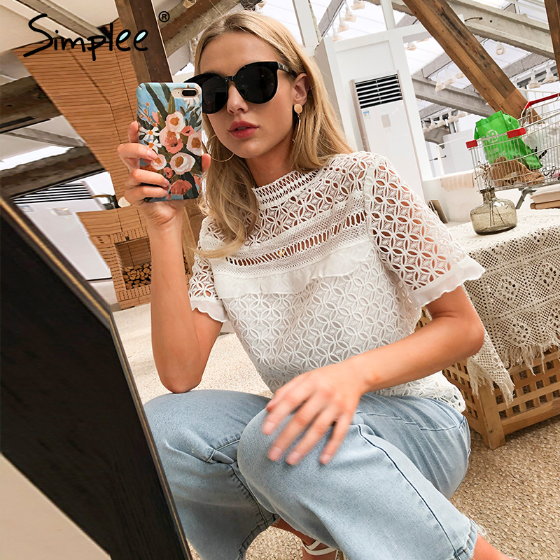 Simplee Sexy Fashion Hollow Out White Women Blouse Shirt Vintage Summer Casual Party Holiday Beach Style Tops Half Sleeve Shirt