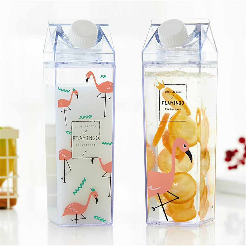 500 мл милые бутылки для воды с птицами минималистичный квадратный пластиковый молочный напиток бутылка Студенческая кофейная чашка для фруктового сока Vogue посуда для напитков