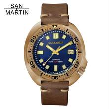 San Martin Bronze Dive Watches Men Mechanical 6105 Watch 200M Water Resistant Genuine Leather Strap reloj hombre marca de lujo(China)