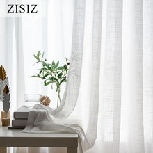 ZISIZ Modern White Tulle Curtains for Living Room Linen Sheer Curtains for Bedroom Voile Curtains Window Treatments Drapes