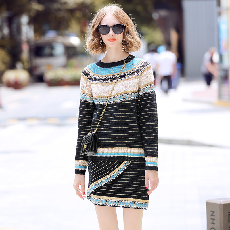 Womens Sweater Sets 2019 Autumn Runway Lurex Knit Striped Loose Pullover Sweater + High Waist Mini Skirt Women 2 Piece Set Suit