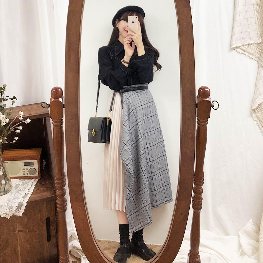 Plus Size Harajuku Long Skirt Grey Plaid Skirt Women Blouse Suits Girl Pleated Plaid Skirt Vintage Long Skirt Sell Separately