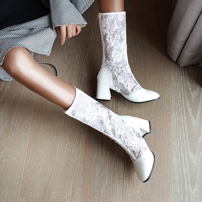 Women Boots Square Heels Knee-High Mesh Boots Office Ladies Summer Boots Female Shoes Woman White Beige Black 33-48