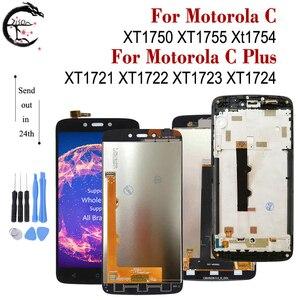 Image 1 - LCD مع إطار لموتورولا موتو C XT1750 XT1755 Xt1754 عرض C plus XT1721 XT1722 XT1723 XT1724 شاشة LCD تعمل باللمس محول الأرقام