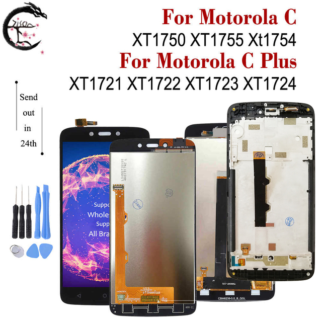 LCD مع إطار لموتورولا موتو C XT1750 XT1755 Xt1754 عرض C plus XT1721 XT1722 XT1723 XT1724 شاشة LCD تعمل باللمس محول الأرقام