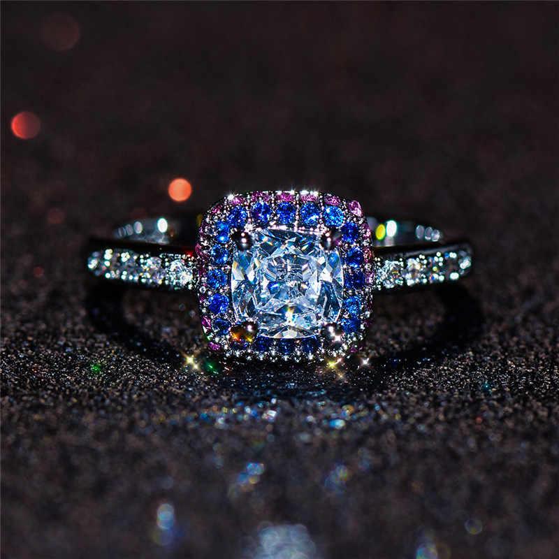 Charm ผู้หญิงสายรุ้ง Zircon แหวนแฟชั่นสัญญาหมั้นแหวน 925 เงินสีคริสตัลแหวน
