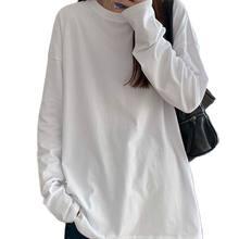 T-Shirts Hauts Chemise En 2021 le nouveau printemps à manches longues couture printemps à l'intérieur d'un lâche blanc coton rendu veste blanc T