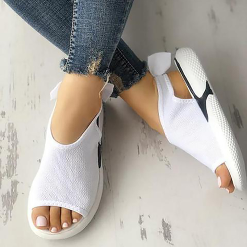Woman Sandal Mesh Peep Toe Chunky Sandals Wedges Shoes For Women Soft Beach Shoes White Black Summer Woman Shoe